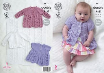 Blanket, Matinee Coats and Cardigan Knitting Pattern King Cole 4431, Prem to 9 months